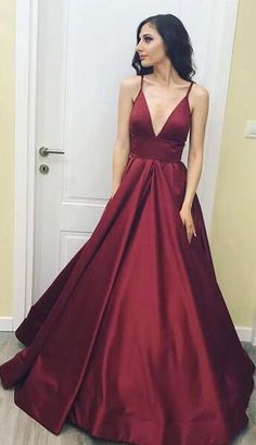 f1f818b59c Sexy Burgundy Simple Taffeta Prom Dress Spaghetti Straps Deep V Neck Ball  Gown Party Gown Backless Zip Formal Evening Dress