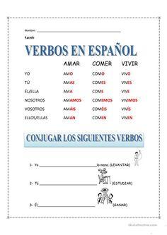 LOS VERBOS trabajos - Hojas de trabajo de ELE gratuitas | Español ...