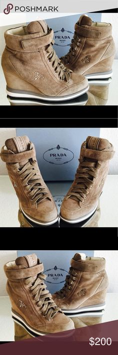 Prada Suede Wedge Sneakers Prada Suede Wedge Sneakers   Pre-loved / Good condition  Size: 37  Color: Gray  DETAILS: Suede Sneakers with a silvertone logo, elevated by a covered wedge  * Suede Upper * Leather Lining * Rubber Sole * Padded insole    Retail: $695.00 + Tax  Our Price: $200.00 Prada Shoes Wedges