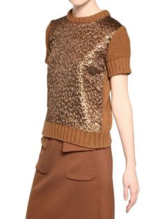 ROCHAS - BROCADE & WOOL SHORT SLEEVED SWEATER - LUISAVIAROMA - LUXURY SHOPPING WORLDWIDE SHIPPING - FLORENCE