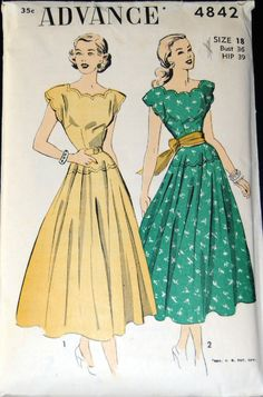 Advance 4842: Such pretty scalloping!  The dropped waist is fabulous, too.