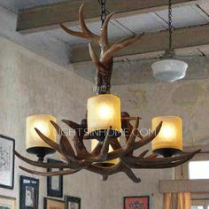 High End 4-Light Glass Shade Deer Antler Chandeliers