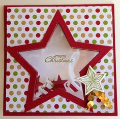 Kathryn's Stampin' World - Star Shaker Card inspired by Louise Sharp, Stampin' Up! Star Shaker Card, Be the Star, Star Framelit, Christmas Card, Stampin up Be the Star