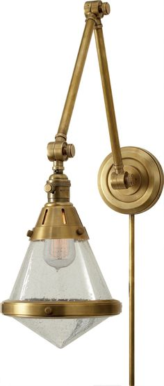 New Product: Gale Library Wall Light by Thomas O'Brien for Visual Comfort & Co. | Shown in Hand-Rubbed Antique Brass with Seeded Glass