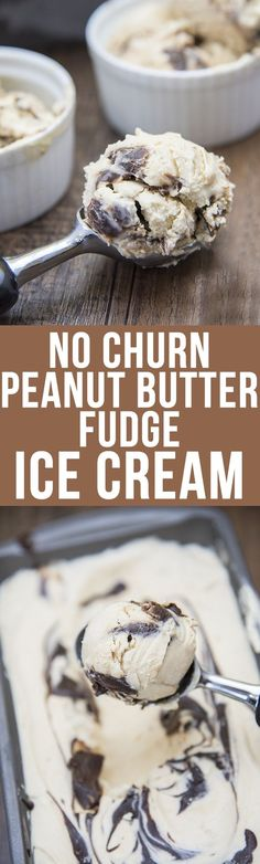 No Churn Peanut Butter Fudge Ice Cream - this 4 ingredient ice cream is so easy to make, and is the perfect creamy peanut butter ice cream and is swirled with chocolate fudge for the perfect ice cream treat!