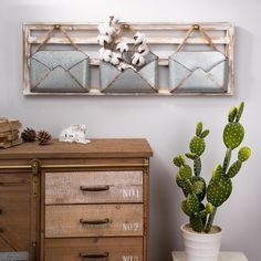 Add a sophisticated touch to your space with this Glitzhome Farmhouse Wooden Wall Decor with galvanized metal containers. Made from iron, wood and MDF. Wooden Wall Decor, Farmhouse Wall Decor, Wooden Walls, Metal Walls, Rustic Farmhouse, Farmhouse Office, Farmhouse Ideas, Farmhouse Style, Galvanized Decor