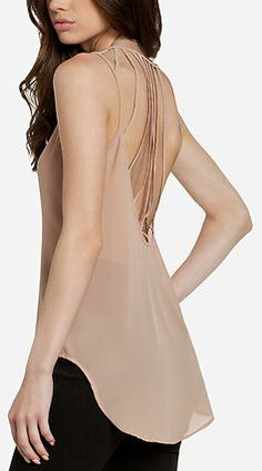Woman's fashion /Cage Back Blouse - Beige