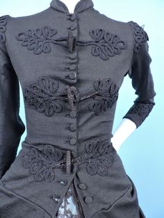 A VERY UNUSUAL PIECE…I HAVE HAD JACKETS OF THIS TYPE, NEVER A POLONAISE BUSTLE BACK TOP. MATCHING SOUTACHE ON THE SHOULDERS, THE CUFFS, ON THE REAR BACK, AND THE DRAPED GATHERED REAR BUSTLE. DATING TO THE VICTORIAN 19TH C. | eBay!