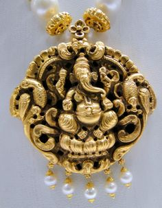 Vintage 22 K solid gold ganesh pendant south sea pearl necklace - tribalexport