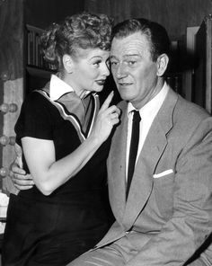 Lucy and John Wayne on the set of I Love Lucy