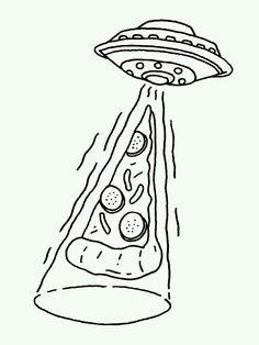 Aliens love pizza too. Art Sketches, Tattoo Sketches, Tattoo Drawings, Tiny Tattoo, Small Tattoos, Easy Drawings, Hipster Drawings, Pizza Drawings, Hipster Doodles