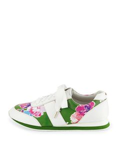 X2P6E kate spade new york sidney floral-print trainer, lucky green