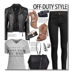 """""""Off Duty"""" by beebeely-look ❤ liked on Polyvore featuring Boohoo, Burberry, Givenchy, StreetStyle, leatherjacket, coloredjeans, offdutystyle and twinkledeals"""