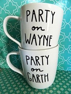 Coffee Mug Set Party On Wayne and Garth by WholeWildWorld on Etsy, $28.00