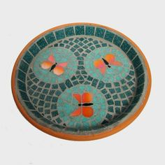 Mosaic Bird Bath Jade Orange Butterflies £35.00  JoSara
