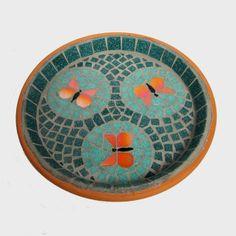 Mosaic Bird Bath Jade Orange Butterflies