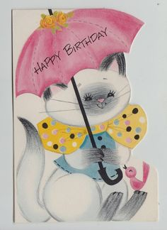 Siamese Cat with Bird Birthday Greeting Card