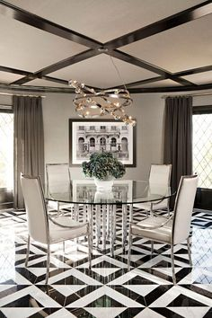 This floor is gorgeous! You Asked For It: The Dione Chandelier by Licht im Raum from Jeff Lewis' House Glass Dining Room Table, Dining Decor, Dining Room Design, Dining Rooms, Interior Design Inspiration, Home Decor Inspiration, Floor Design, House Design, Ceiling Design