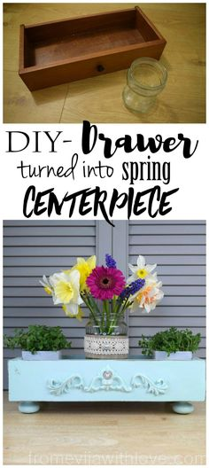 Thrift Store Swap - Drawer Turned into Spring Centerpiece - From Evija with Love. DIY chalk painted drawer Decoart Mint chalk paint and decorative mouldings