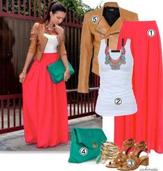 Hola a todas :)Este verano como bien sabréis se llevan mucho las faldas largas y coloridas. Aquí os explico un look que podéis hacer vosotras mismas inspirándoos en esta foto. 1-. Falda larga mono …