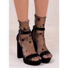 Milky Way Star Mesh Socks ($9.60) ❤ liked on Polyvore featuring intimates, hosiery, socks, black, mesh socks and star socks