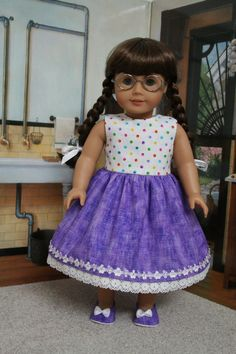 18 inch American Girl Purpe Red Doll Dress by CrazyLadyDollClothes on Etsy