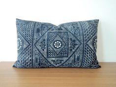 "18""x 29"" Vintage Chinese Indigo Batik Pillow Cover, HMONG Batik Indigo Pillow Case, Boho Throw Pillow, Ethnic Costume Textile Cushion Cover"