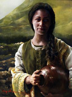 """Women of the Holy Bible, """"Living Water (The Samaritan Woman at the Well) by Elspeth C. Young - Copyright: All Rights Reserved - Lds Art, Bible Art, Scripture Study, Arte Lds, Young Art, Living Water, Bible Pictures, Prophetic Art, Biblical Art"""