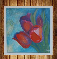 Print Art. Tulips. Mixed Media . Red. 9'x9' by GaleriaArlette