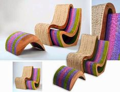 The argentinean architect Ana Mitrano recently builds these organic chairs and furniture complete with uniquely shaped pieces from recovere...
