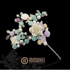 장옥정, 진주 산호꽃 나비 머리꽂이2 - 고품격 수공예 주얼리 민휘아트주얼리 MINWHEE ART JEWELRY