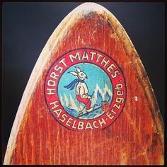 Fantastic graphic logo on a vintage set of wooden skis bought in Europe. Kabinett Vintage, 66 Piper St, Kyneton.