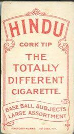 1909-11 The American Tobacco Company T206 White Border #108 Doc Crandall Back
