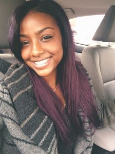 Plum hair color, black girl, pretty smile
