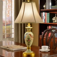 Hand Painted Bird Art European Style Lamp Bedside Bedside Lamp American Warm Retro Living Room Study Country Style Table Lamp