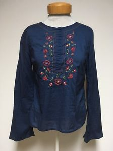 Abercrombie Fitch Womens Large Peasant Top Shirt Blue Long Sleeve Floral Boho | eBay