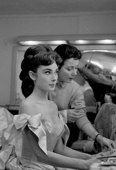 Audrey Hepburn on the set of Mayerling, 1957