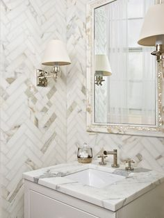 says this Marble herringbone tile bathroom is gorgeous! We would love to recreate this design in YOUR powder room! Herringbone Tile, Chevron Tile, Chevron Walls, Grey Chevron, Bad Inspiration, Bathroom Inspiration, Dream Bathrooms, Beautiful Bathrooms, Tile Bathrooms