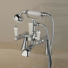 Contemporary Centerset Solid Brass Double Handles Bridge Bathtub Tap with Hand Shower(Chrome Finish)