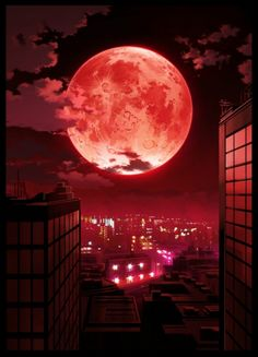 here we see one amassing red moon over a city. this is truly a 5 stars worthy anime scenery wallpaper. I hope you like a lot.