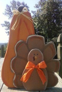 Wood Turkey with Pumpkin.