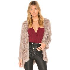 HEARTLOOM Tilda Dyed Rex Rabbit Fur Jacket ($265) ❤ liked on Polyvore featuring outerwear, jackets, coats & jackets, rabbit fur jacket, heartloom, red jacket and rabbit jacket