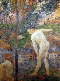 Paul Gauguin - Post Impressionism - La baignade - Bathing - 1888 - Gauguin est rentré en France et a effectué un 2nd séjour de 6 mois à Pont-Aven - Gauguin's back in France, and spent 6 month in Pont-Aven (Brittany, west of France)