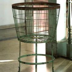 Rustic Wire Bushel Basket on Stand