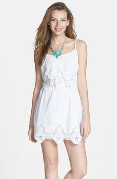 Mimi Chica Crochet Trim Popover Dress (Juniors) available at #Nordstrom