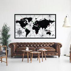 Dünya Haritası Metal Tablo/Poster trendolia.com'da #ev #duvar #dekorasyon