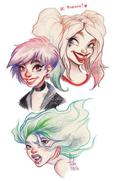portraits or Harley and random girls done with color pencils _ _ _ support me and see more at my Patreon