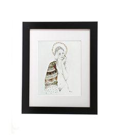 Untitled. Original Art, Embroidery on Paper, Drawing, Illustration, Beaded, Mixed Media, Fiber Art, Folk Art, 9 x 12, Hand Stitched, Nude