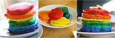 Rainbow pancakes.  Our new birthday morning tradition!