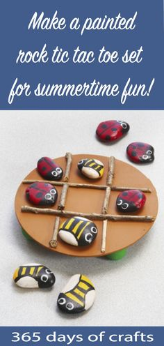 insect painted rock tic tac toe Make painted rocks for outdoor kids activity. Cute ladybug and bee painted rock tic tac toe DIY Tic Tac Toe, Craft Projects For Kids, Outdoor Projects, Diy For Kids, Bee Crafts For Kids, Art Projects, Class Projects, Kid Crafts, Camping Activities For Kids